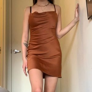 Silky burnt orange/copper dress